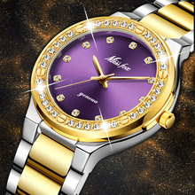 MISSFOX النساء الساعات العلامة التجارية الفاخرة مشاهدة النساء الماس موضة الأرجواني جنيف 18k الذهب السيدات ساعة الإناث ساعة كوارتز ساعة
