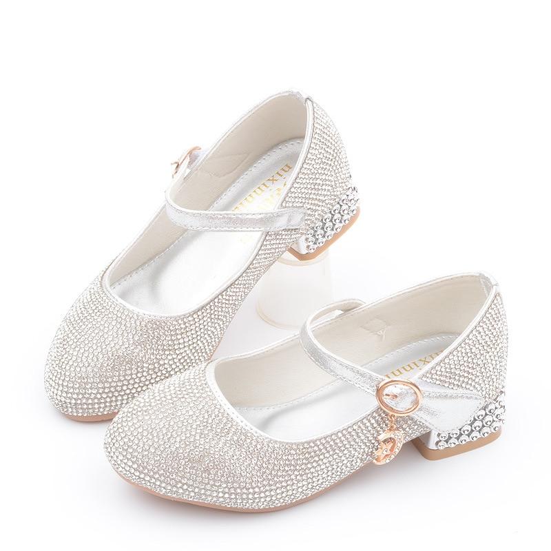Princess Rhinestone High Heel Leather Shoes Big Kids Little Girls Dress Party Wedding Children Shoes 4 5 6 7 8 9 10 11 12 Year