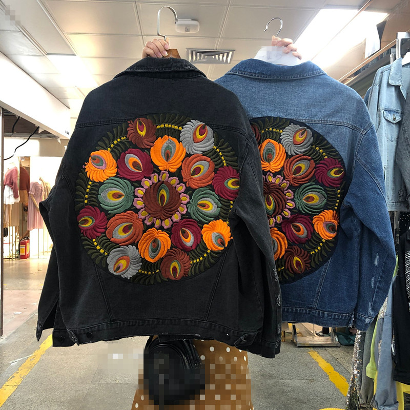 Boho Inspired Oversized Multi Floral Embroidered Denim Jacket Long Sleeve Casual Chic Jacket Coat Women 2019 New Winter Coat