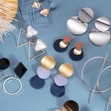 Women's Earrings Female Jewelry Geometric Acrylic Trend Round Statement Korean for Gold