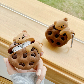 Case for AirPods Pro Cute Cover Silicone Bluetooth Earphone Protective Case for Apple Air Pods 1 2 Cookies Bear 3D with Keychain case for airpods pro cute cover silicone bluetooth earphone protective case for apple air pods 1 2 cookies bear 3d with keychain