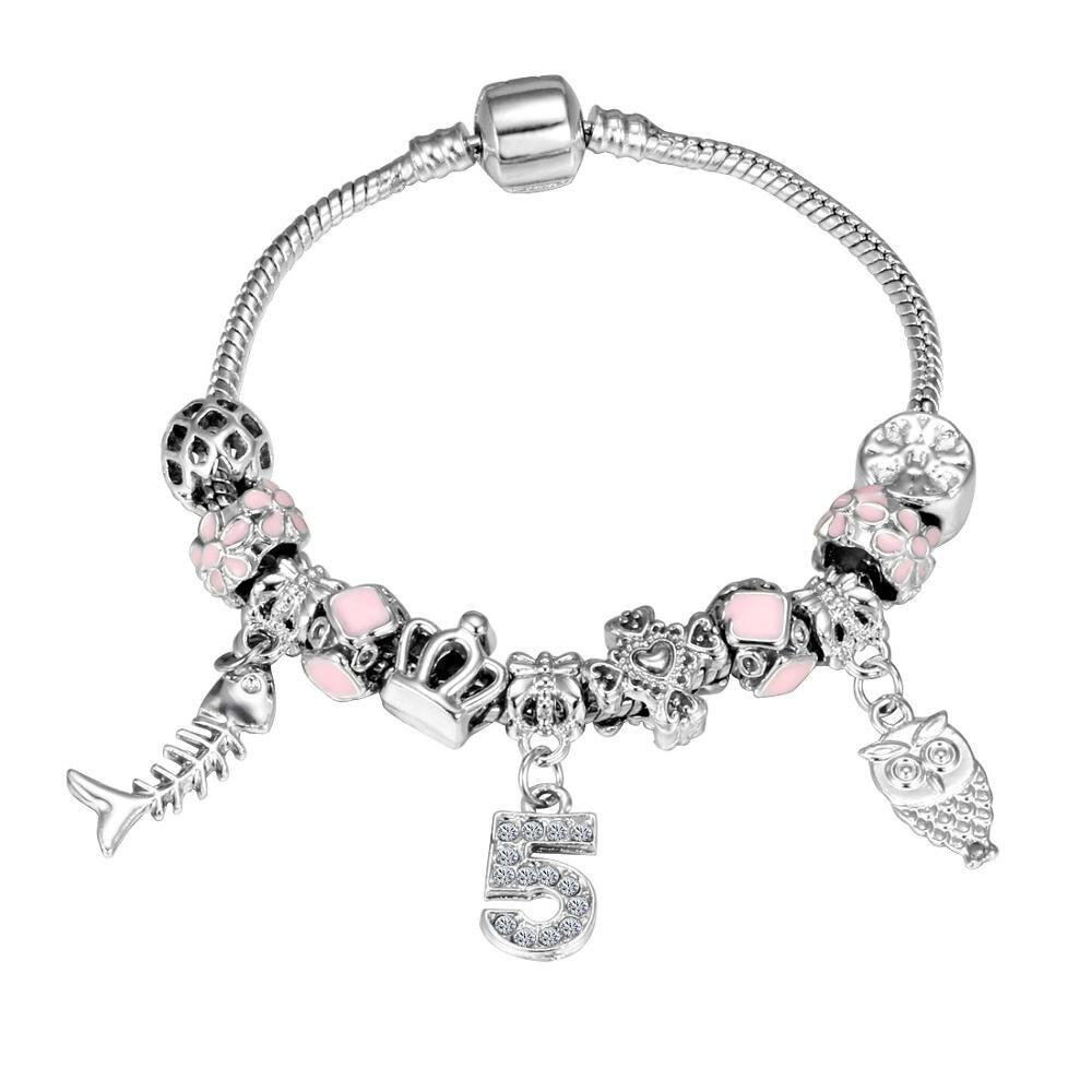 Pink Crystal Charm Silver Bracelets & Bangles for Women  Beads Silver Bracelet Femme Jewelry 15