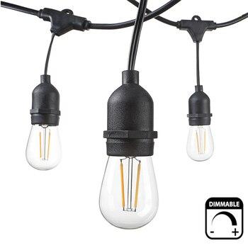 10M/15M S14 cuerda de luces regulable impermeable E27 LED caliente Retro Navidad exterior calle Patio jardín vacaciones iluminación