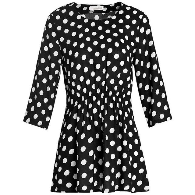 Women Spring Summer Style Chiffon Blouses Shirts Lady Casual Half Sleeve O-Neck Polka Dot Printed Blusas Tops DD8800 2