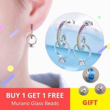 High Quality 100% 925 Sterling Silver Geometric Zircon Stud Earrings Hanging wite Ring for Women Jewelry Gift