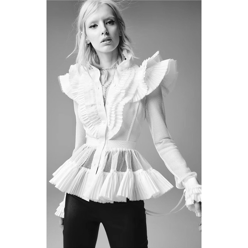 DEAT 2020 Runway Stules Pan Shoulder Turn-down Collar Single Breasted Mesh Flare Sleeves Short Shirt Female Blouse WL93501L