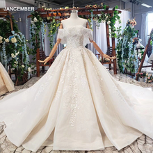 HTL698 luxury wedding dresses with wedding veil beaded boat neck off shoulder handwork lace wedding gowns 2020 encontrar loja