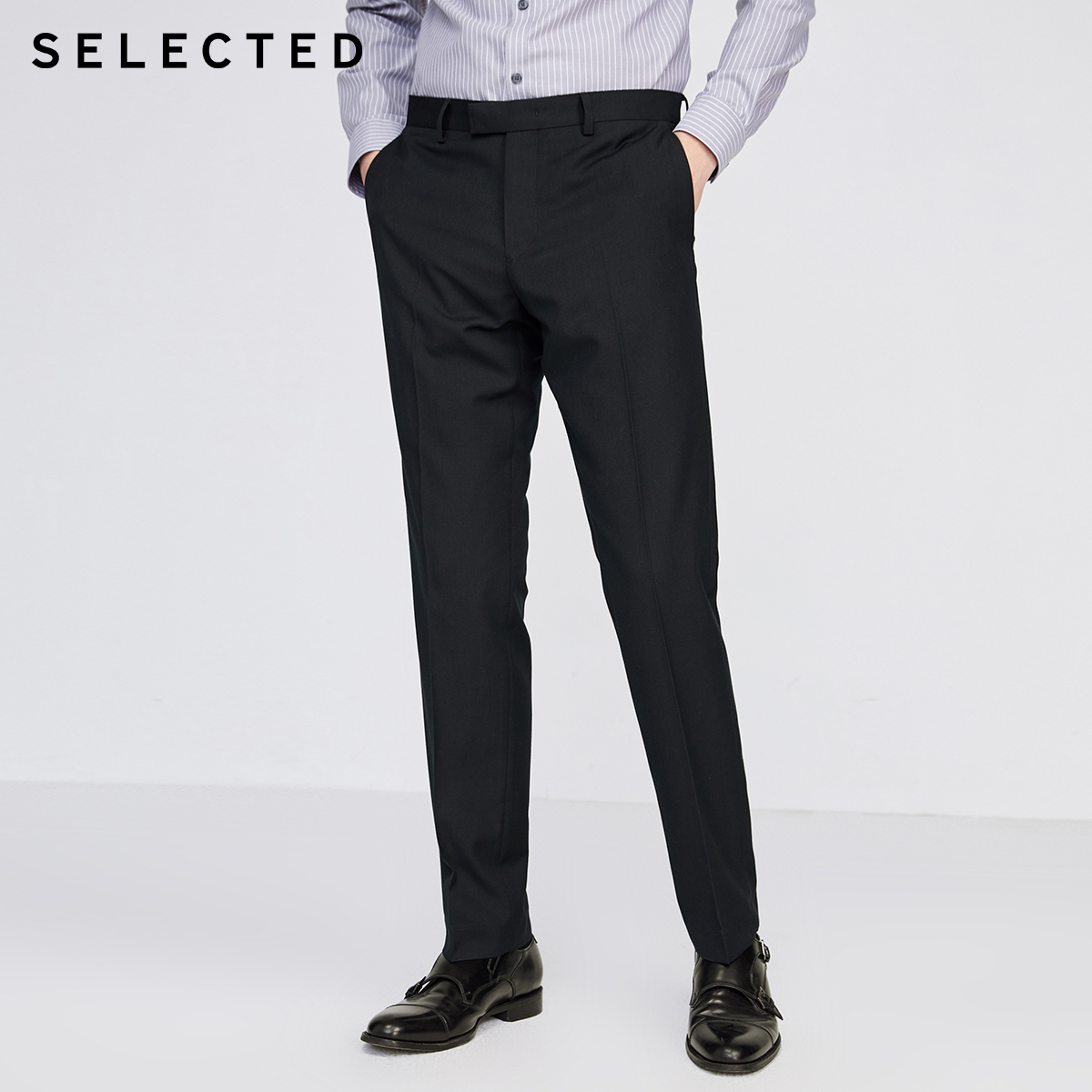 SELECTED Men's Regular Slim Fit Suit Pants Pure Color Trousers SIG|42016A513