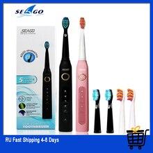 Nova seago sonic escova de dentes elétrica SG 507 adulto temporizador escova usb carregador recarregável escovas/substituição cabeças escova/caixa