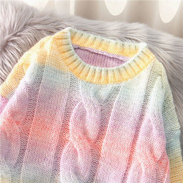 Autumn Winter Women Rainbow Sweaters Tie Dye Pullover O-Neck Long Loose Striped Korean Jumpers Candy Color Oversized Female Tops 3