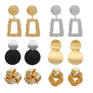 Vintage Gold Silver Plated Geometric Big Round Clip on Earrings for Women Girl Hollow Ear Clip Without Piercing Fashion Jewelry