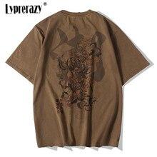 Lyprerazy Chinese Vintage Monkey King ricamo T Shirt uomo Tshirt uomo Streetwear T-Shirt Hip Hop 4XL abiti cotone marrone