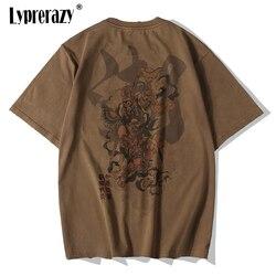 Lyprerazy Chinese Vintage Monkey King Embroidery T Shirt Men Tshirt Men Streetwear T-Shirt Hip Hop 4XL Clothes Brown Cotton