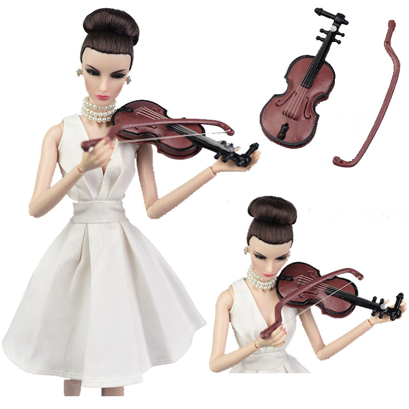 Doll 1/12 Scale Instruments Dollhouse Miniature Musical Guitar For Barbies Doll Accessories Christmas Children's Day Girl`s Toy