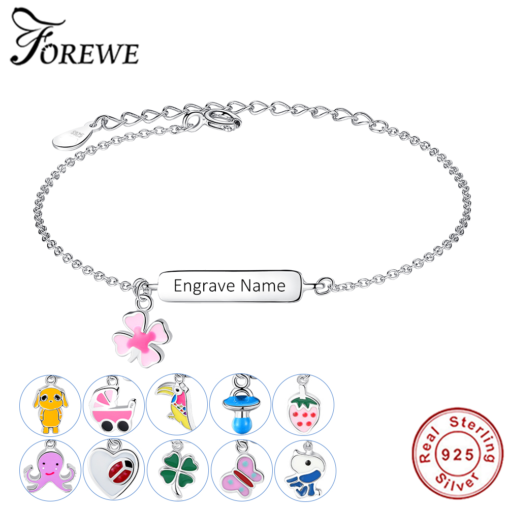 FOREWE Free Engrave Name Bracelet Personalized Bracelet For Children Girls 925 Sterling Silver Bracelet Customize Gift for Baby(China)