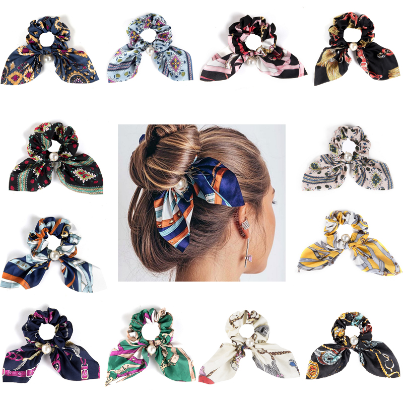 12 Colors Fashion Bow Streamers Hair Bands For Women Girls Pearl Scrunchies Hair Ties Ponytail Rubber Hair Accessories