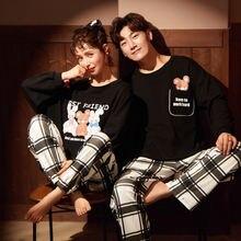 Милые пижамы для влюбленных мужские хлопковые Пижамные комплекты