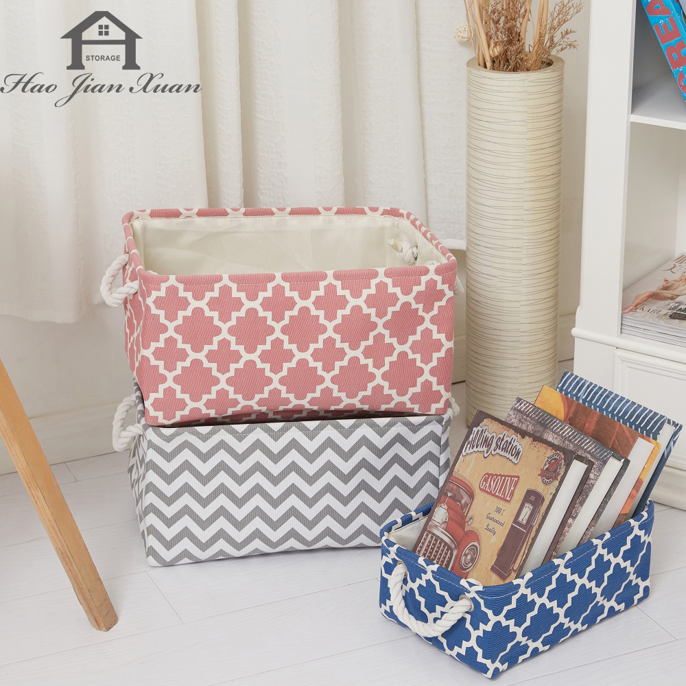 New Folding Canvas Fabric Storage Box Clothes Toys Storage Basket For Toys Organizer Home Laundry Basket With Handle Storage Bin
