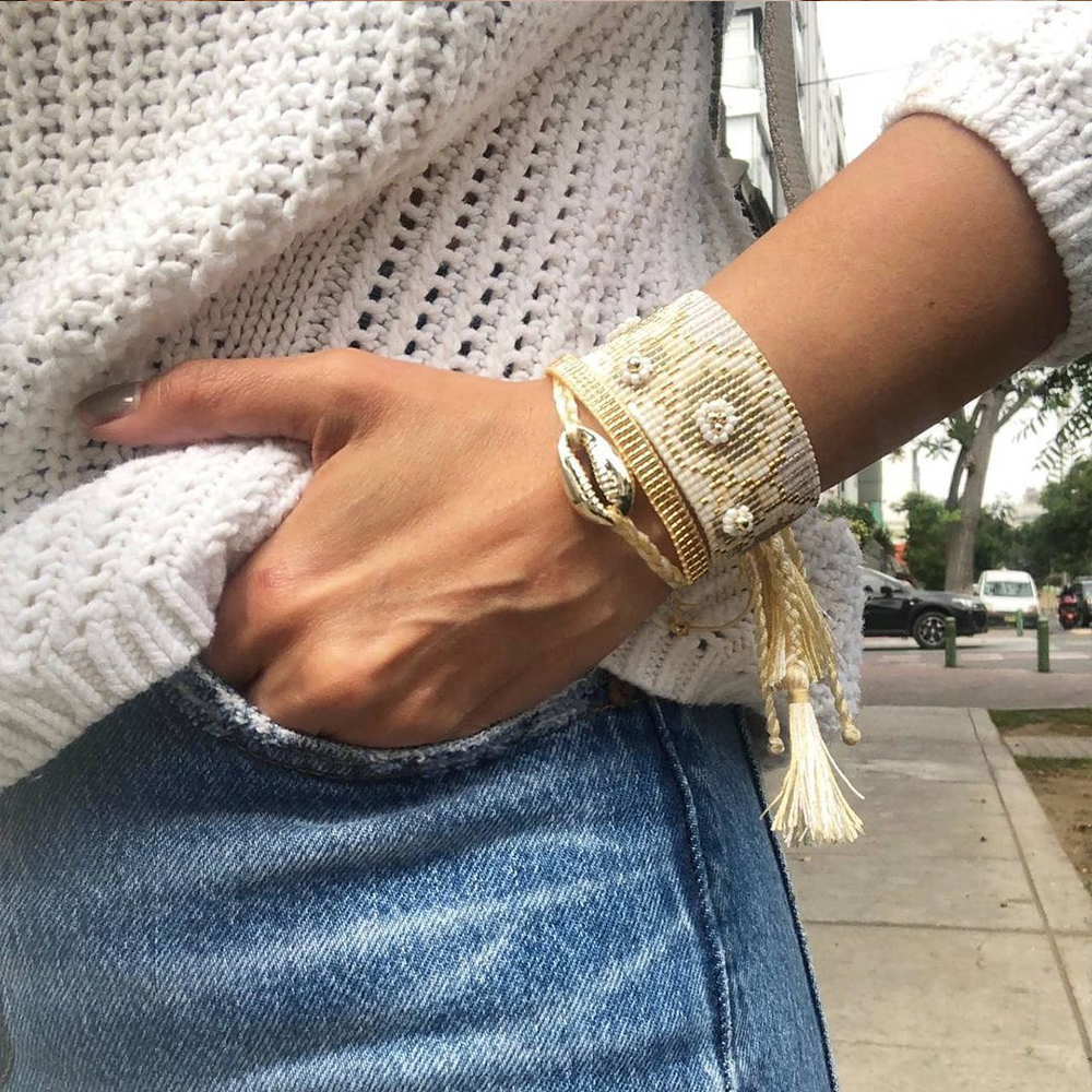 Goboho Miyuki Flower Bracelet for Women Accessories Beaded Jewellery Handmade Loom Woven Pulseras Boho Shell Jewelry Bracelets
