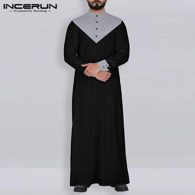 Men Vintage Islamic Kaftan Stand Collar Robes Jubba Thobe