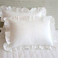 Fronha de travesseiro cilecped  1 peça de capa branca de travesseiro para cobrir o travesseiro  princesa europeia de algodão plissado travesseiro 48*74cm