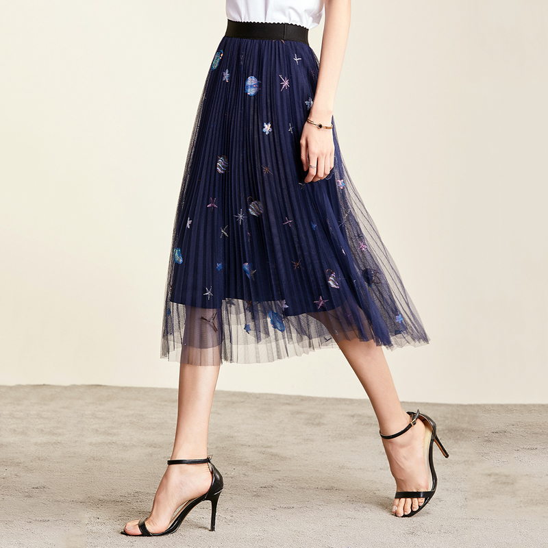 Fashion Women's Skirts 2019 Summer Korean Version Of The Planet Embroidery Pleated Mesh Skirt Fairy Lace Stitching Clothes