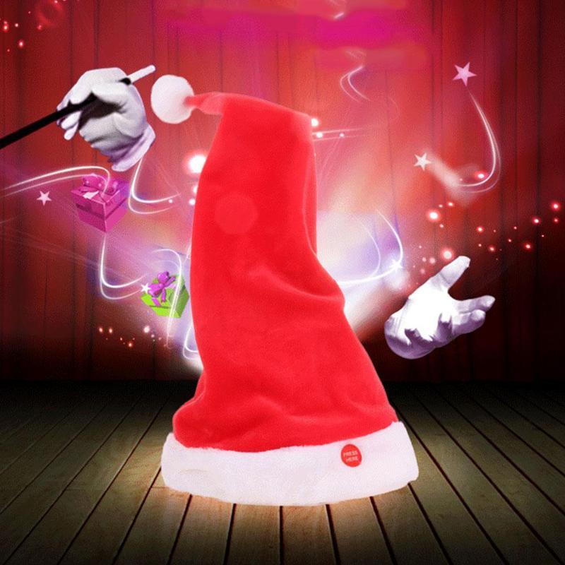 Christmas Plush Hat Toy Electronics Singing Dancing Talking Moving Mini Cartoon Santa Hats Children Magical Cap Party Toys