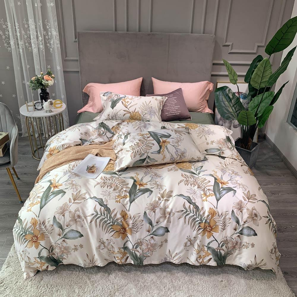 Постельное белье Svetanya, хлопковое постельное белье с бежевыми цветами, скандинавские постельные принадлежности, постельное белье королевского размера, простыня, пододеяльник|Комплекты постельного белья|   | АлиЭкспресс - Постельное белье
