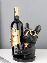 Europeu resina óculos cão escultura vinho armário de exibição bonito animal rack vinho desktop artesanato decoração para casa mobiliário
