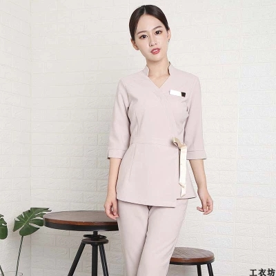 Beauty Clothes Work Clothes Health Hall In The Sleeve Of The Korean Version Of Skin Management Trim Show Thin Beautician Fashion