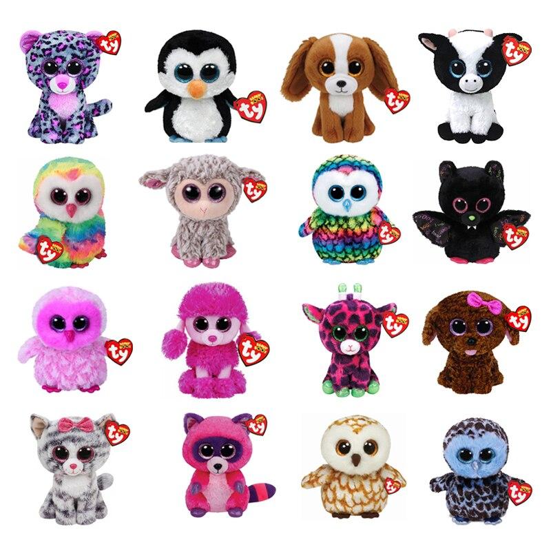 Ty Beanie Cat Animal relleno Fox Fog Owl unicornios de juguete, muñeco de regalo, 15cm