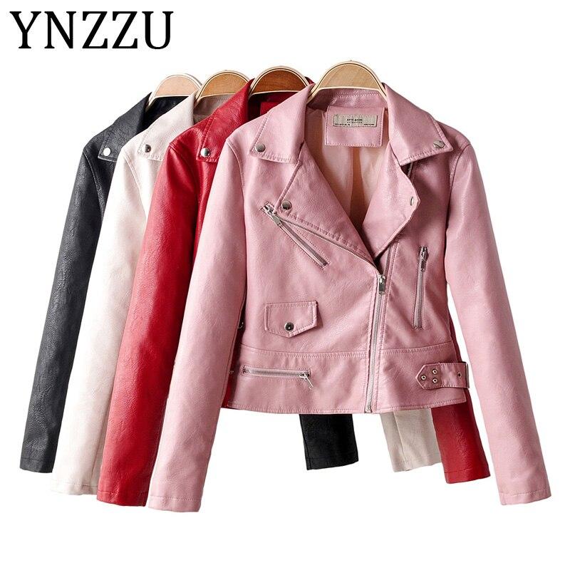 YNZZU 2019 New Autumn Brand Fashion Street Short Washed PU   Leather   Jacket Women Zipper Ladies Faux   Leather   Biker Coat A1135