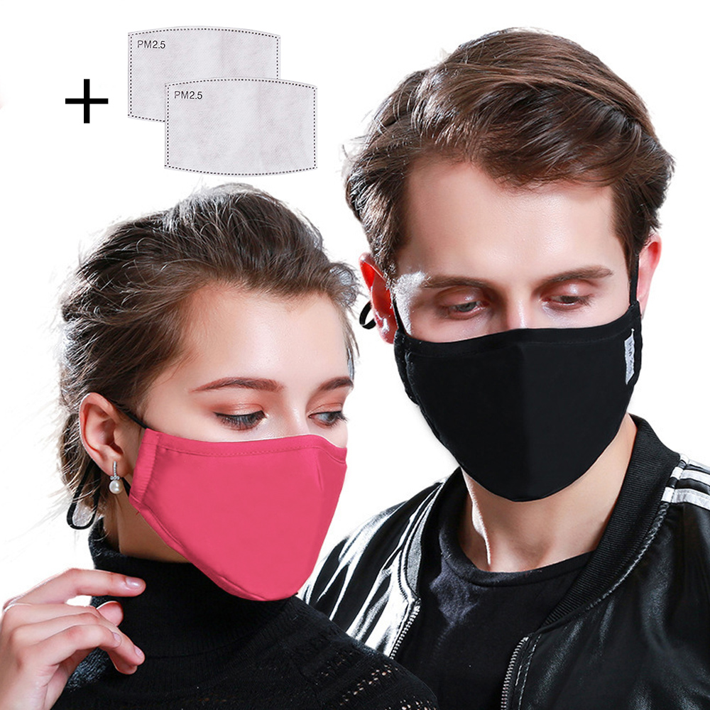 PM2.5 Washable Face Mask Anti Pollution Reusable Muffle Mouth Mask Flu Dust Exhaust Isolation Filter Respirator Masks Windproof