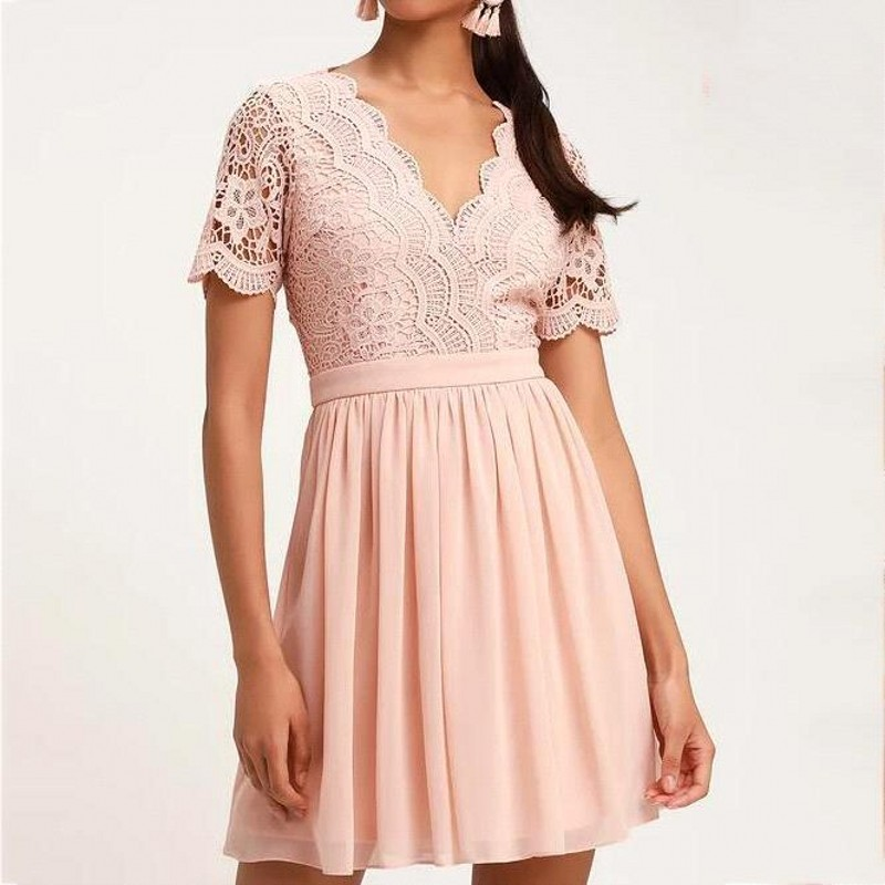 Pink Lace Short Cocktail Dresses Sexy V Neck Sleeveless Coctail Party Gown 2020 A line Pleated robe Formal