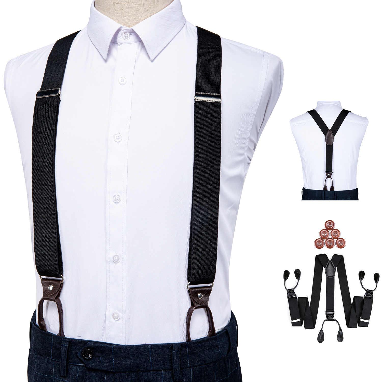 Tirantes De Cuero Para Hombre Elastico Y Ajustable En La Espalda Esmoquin Pantalones Con Tirantes Negro Suspensores Para Hombre Aliexpress