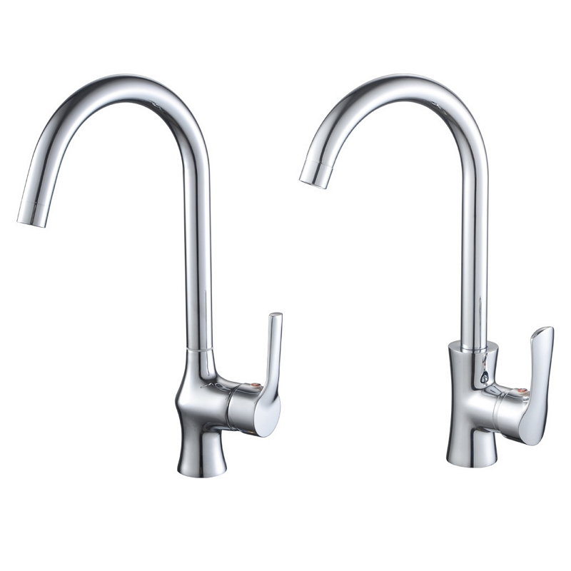Copper Kitchen Faucet 360 Degree Rotation Curved Outlet Pipe Tap Single Handle Vessel Sink Tap Cold Hot Water Mixer Tap Crane