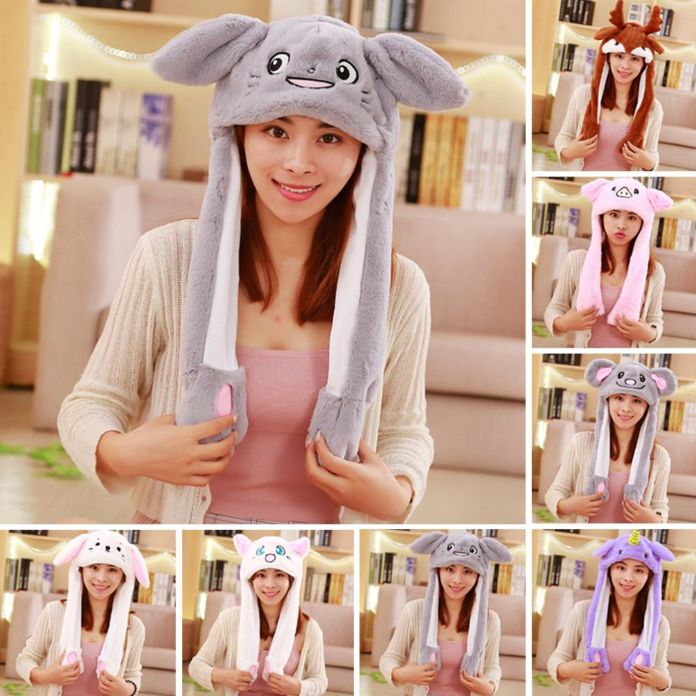Cute Cartoon Moving Ears Airbags Rabbit Hat Cap Plush Toy Lovely Funny Toy Cap Kids Plush Toy Birthday Gift For Kids Girls