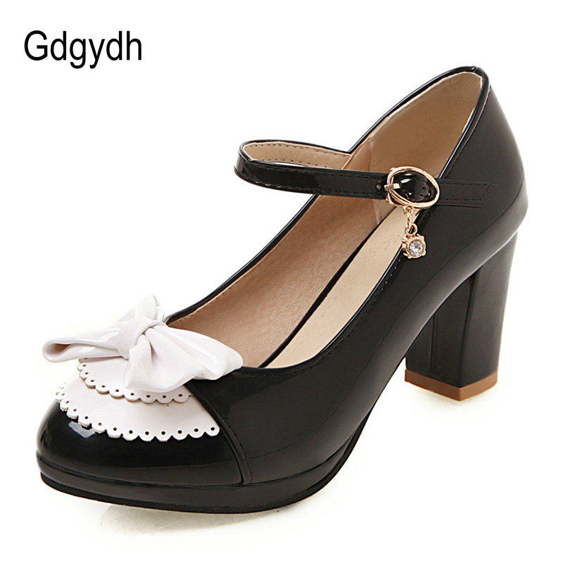 Gdgydh Gothic Lolita Shoes Big Size 50 Pink White Women Pumps High Heels Butterfly-knot Mary Janes Shoes For Party Square Heel