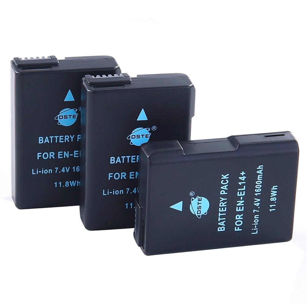 3 pièces 1600mAh 7.4V EN-EL14 ENEL14 Batterie pour Appareil Photo Nikon D3100 D3200 D5100 D5200 P7000 P7100 P7200 P7700 P7800 D3400 D5600