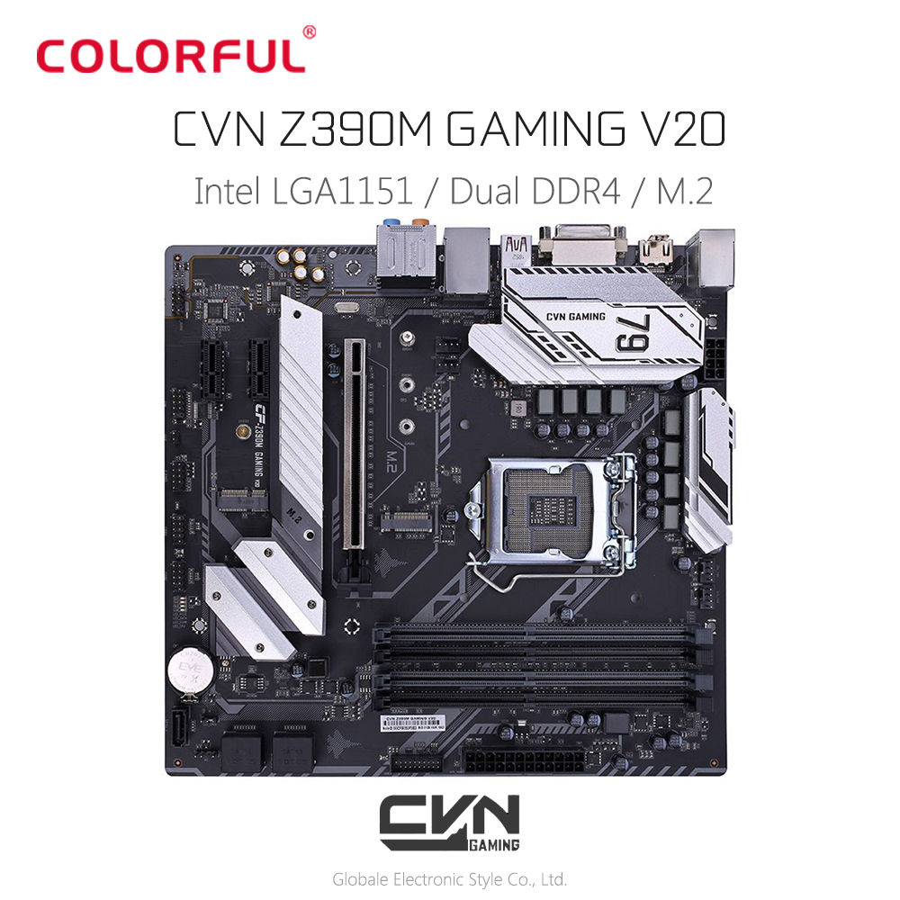 Colorful CVN Z390M GAMING V20 <font><b>Motherboard</b></font> M - ATX LGA1151 Interface Dual Channel DDR4 Gigabit LAN 5 x SATA 3.0 with M.2 Slot image
