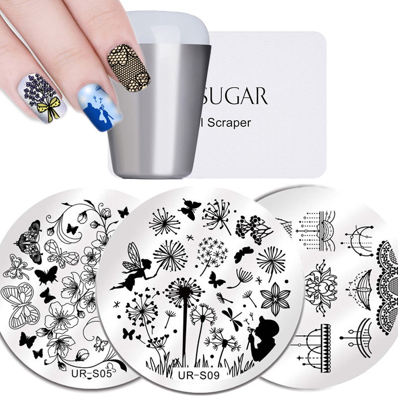 UR SUGAR Lace Flower Nail Stamping Template Stainless Steel Plate Animal Pattern Art Stamp Tool