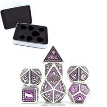 Jogo de dados do metal da escala do dragão, jogo metálico do dnd do papel de 7 pces & dados de d & d com caixa livre do metal para o papel d24 20 do jogo de d & d dropship
