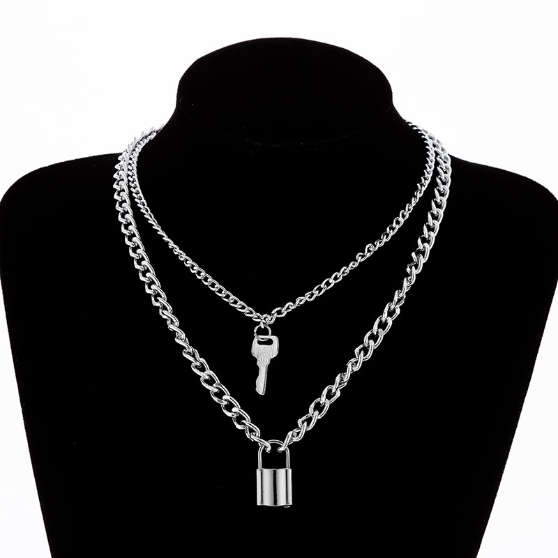 H8857152f8b1c437db6eaa398ae07629fB - KMVEXO Multilayer Lock Chain Necklace Punk Padlock Key Pendant Necklace Women Girl Fashion Gothic Party Jewelry