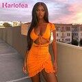 Karlofea оранжевое Повседневное платье, мини-платье с вырезами, шнуровкой и рюшами, шикарные наряды с оборками, лето 2020