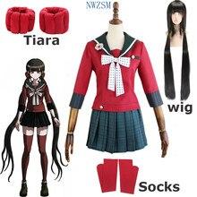Anime danganronpa cosplay harukawa maki cosplay trajes peruca escola meninas uniforme dangan ronpa traje de halloween para mulher