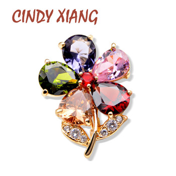 CINDY XIANG Cubic Zirconia Flower Collar Pin Unisex Women And Men Brooch Pin 8 Colors Available Summer Jewelry Shirt Accessories cindy xiang blue shark brooch women and men brooch pin unisex enamel brooches vivid animal jewelry badages fashion accessories