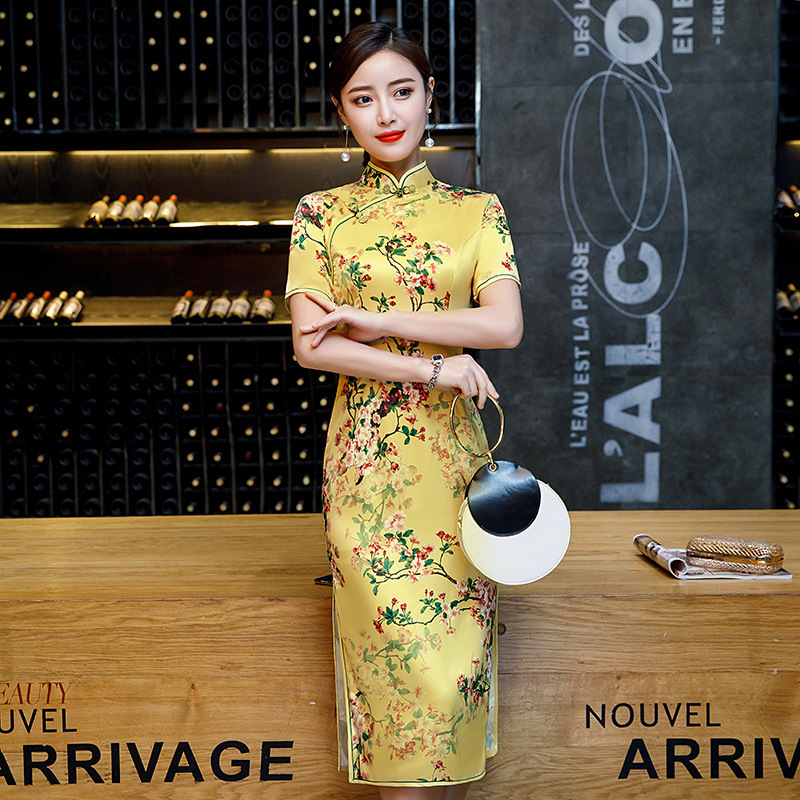 Sheng Coco 4 Color Yellow Sexy Slim Classic Qipao New Plum Flowers Banquet Cheongsam Chinese Dress Silk Plus Size 4XL Vintage Qi