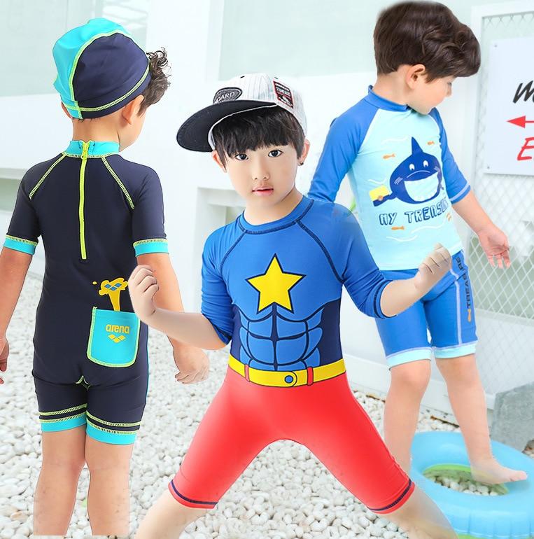 2020 Hot Selling KID'S Swimwear Men And Women Big Boy In Short Sleeve Zipper Cartoon Shark Points Surfing Jumpsuit