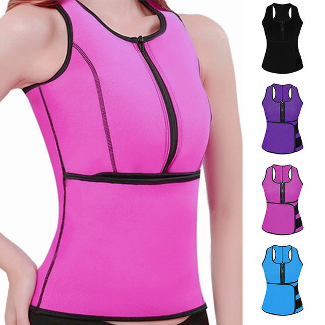 New Women Trainer Waist Belts Vest Gym Adjustable Slimming Sweat Belt Workout Zipper Body Shaper Sexy Workout Sports Wear Vest