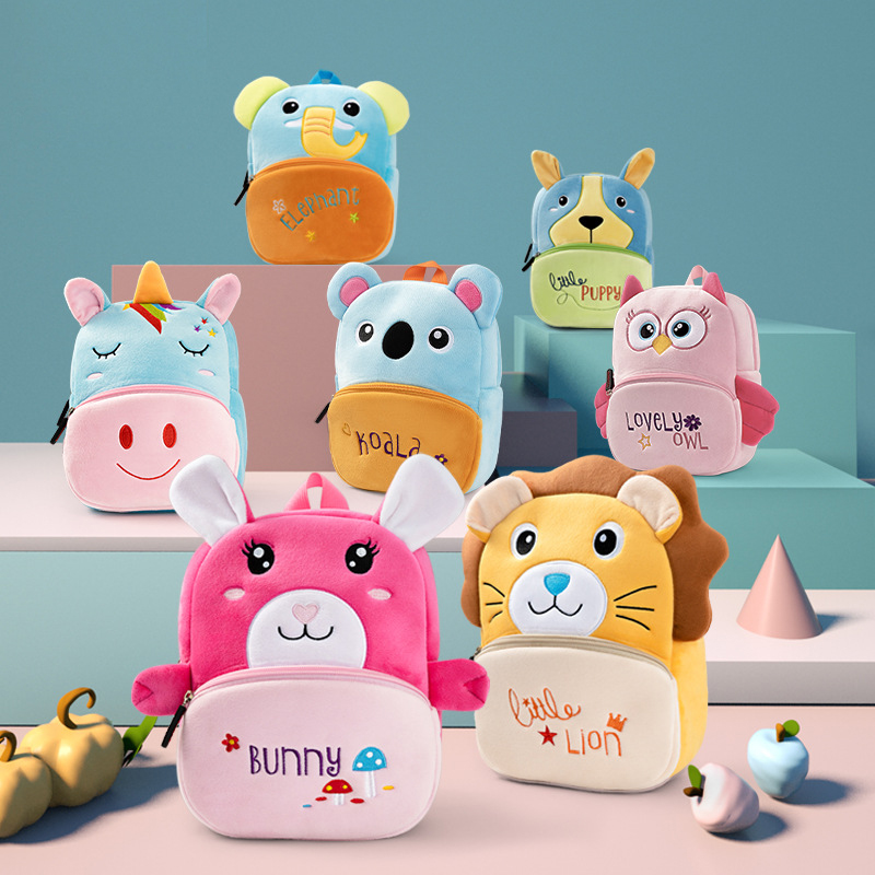 2020 Kindergarten Children School Bags Toddler Backpack Girls Soft Plush Kids Bags 3D Cartoon Animals Schoolbag Mochila Escolar